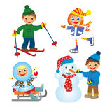 Childrens fun in winter. On white background Royalty Free Stock Photo
