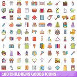 100 childrens goods icons set, cartoon style. 100 childrens goods icons set. Cartoon illustration of 100 childrens goods vector icons isolated on white Royalty Free Stock Photos
