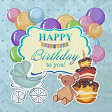 Childrens greeting background with the birthday boy. Royalty Free Stock Photography
