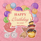 Childrens greeting background with birthday. Royalty Free Stock Images