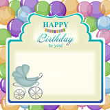 Childrens greeting background with blue stroller. Stock Photography
