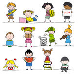 Childrens. A group of little childrens. children studying, eating, playing royalty free illustration