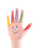 Childrens hand palm colorful painted  isolated on white background Royalty Free Stock Photo