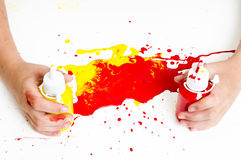 Childrens hands and paint Stock Photo
