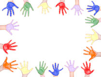 Painted hands for a frame Royalty Free Stock Image