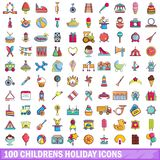 100 childrens holiday icons set, cartoon style. 100 childrens holiday icons set. Cartoon illustration of 100 childrens holiday vector icons isolated on white Royalty Free Stock Image
