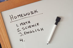 Childrens Homework List Royalty Free Stock Image