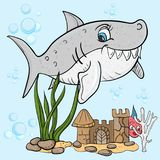 Childrens illustration of the fish is a big gray shark. Vector childrens illustration fish a big gray shark, among the seaweed, the bubbles, undersea castle Stock Image