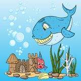 Childrens illustration of the fish the blue whale. Vector childrens illustration of the fish the blue whale, among the seaweed, the bubbles, undersea castle Stock Photo