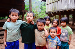 Childrens of Karen villager in poverty village. Royalty Free Stock Images