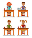 Childrens learns concept. Flat style vector illustration of childrens sitting on table with books Royalty Free Stock Image