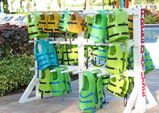 Childrens  life vests Free Day Use at Pool Royalty Free Stock Image