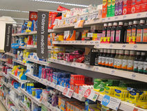 Childrens medicines or drugs in a superstore. Royalty Free Stock Image