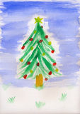 Childrens Painting - Christmas Tree royalty free stock images