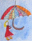 Childrens painting - girl with umbrella in the rain Stock Photos