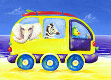 Childrens painting of surf van with exotic animals. A very nice, funny and colorful children's painting of a van with surfboard on roof and exotic African royalty free illustration