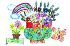 Childrens paintings Stock Images