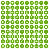 100 childrens park icons hexagon green. 100 childrens park icons set in green hexagon isolated vector illustration Stock Photos
