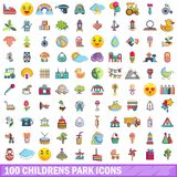 100 childrens park icons set, cartoon style. 100 childrens park icons set in cartoon style for any design vector illustration stock illustration