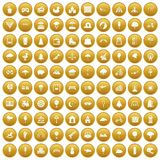 100 childrens park icons set gold. 100 childrens park icons set in gold circle isolated on white vectr illustration Royalty Free Stock Images
