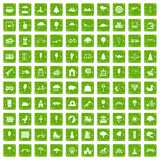 100 childrens park icons set grunge green. 100 childrens park icons set in grunge style green color isolated on white background vector illustration Stock Images