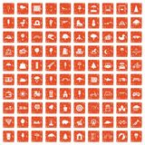 100 childrens park icons set grunge orange. 100 childrens park icons set in grunge style orange color isolated on white background vector illustration stock illustration
