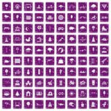 100 childrens park icons set grunge purple. 100 childrens park icons set in grunge style purple color isolated on white background vector illustration royalty free illustration
