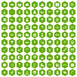 100 childrens parties icons hexagon green. 100 childrens parties icons set in green hexagon isolated vector illustration Royalty Free Stock Photo