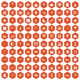 100 childrens parties icons hexagon orange Royalty Free Stock Images