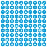 100 childrens parties icons set blue. 100 childrens parties icons set in blue hexagon isolated vector illustration vector illustration