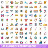 100 childrens parties icons set, cartoon style. 100 childrens parties icons set. Cartoon illustration of 100 childrens parties vector icons isolated on white Stock Photography