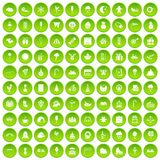 100 childrens parties icons set green circle. Isolated on white background vector illustration Royalty Free Stock Images