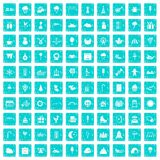 100 childrens parties icons set grunge blue Royalty Free Stock Photos