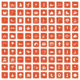 100 childrens parties icons set grunge orange. 100 childrens parties icons set in grunge style orange color isolated on white background vector illustration Stock Photo