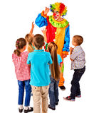 Childrens party entertainers. Birthday child clown playing with children. Royalty Free Stock Photo