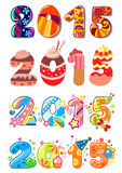 Childrens party 2015 numbers. Colorful funny kids themed numbers 2015 with cakes, creams, flowers and toys for childrens parties and mathematic lessons Royalty Free Stock Photo
