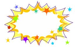 Party Starburst Flash Background with Stars and Offset Outlines. Party starburst flash background in yellow with multicoloured cartoon stars and offset outlines royalty free illustration