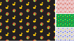 Childrens pattern with ducks and balls Stock Photography
