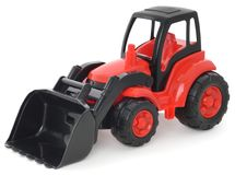 Childrens plastic toy, Red-black bulldozer isolated on white Stock Photos