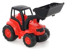 Childrens plastic toy, Red-black bulldozer isolated on white Stock Photography