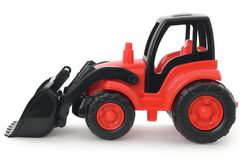 Childrens plastic toy, Red-black bulldozer isolated on white Royalty Free Stock Photo