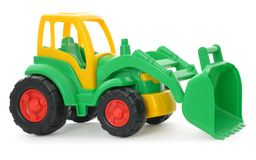 Childrens plastic toy, yellow-green bulldozer isolated on white Royalty Free Stock Images