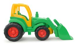 Childrens plastic toy, yellow-green bulldozer isolated on white Stock Image
