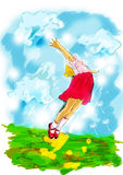 Children play illustration. Graphics Tablet painting in Photoshop using different typs of brushes. This is Digital Art. Childrens joy, happiness and freedom at Royalty Free Stock Photography
