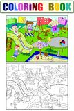Childrens playground coloring. Vector illustration of black and white Royalty Free Stock Image