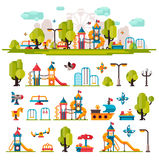 Childrens Playground drawn in a flat style Royalty Free Stock Images