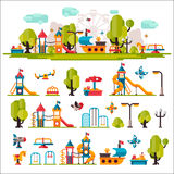 Childrens Playground drawn in a flat style. Childrens playground. Swings, sandpit, sandbox, bench, tree, children tower, children house, children slide. Kids Stock Images