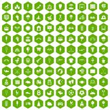 100 childrens playground icons hexagon green. 100 childrens playground icons set in green hexagon isolated vector illustration Stock Photography