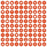 100 childrens playground icons hexagon orange Stock Image
