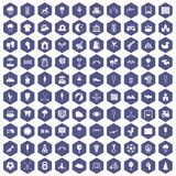 100 childrens playground icons hexagon purple. 100 childrens playground icons set in purple hexagon isolated vector illustration Royalty Free Stock Photo